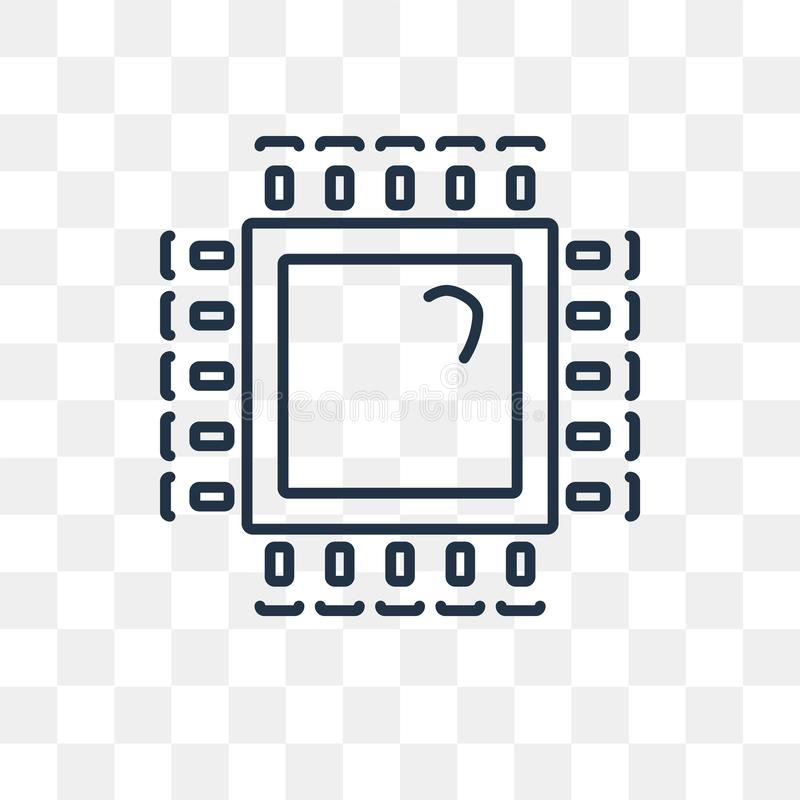 处理器在透明背景隔绝的传染媒介象,线性 库存例证