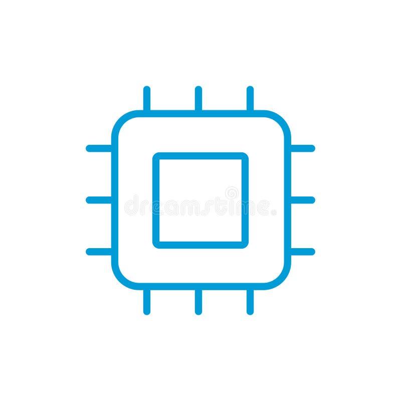 处理器线性象 核心 稀薄的线例证 芯片,芯片组 传染媒介被隔绝的外形图 编辑可能的冲程 库存例证