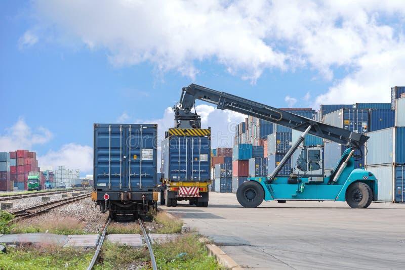 处理容器箱子的铲车装载对货车 免版税库存图片