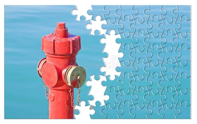 处理您的防火计划-反对wa的红火消防栓 库存图片