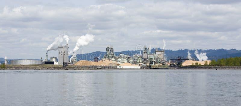 处理河沿木头的工厂 库存图片