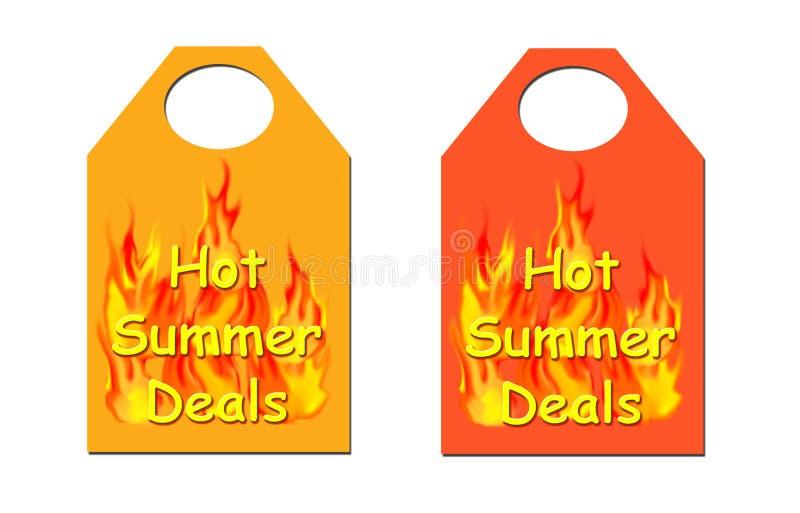 处理热夏天标签 库存例证