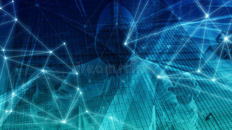 处理算法数字技术构想,计算机编码的新技术 库存例证