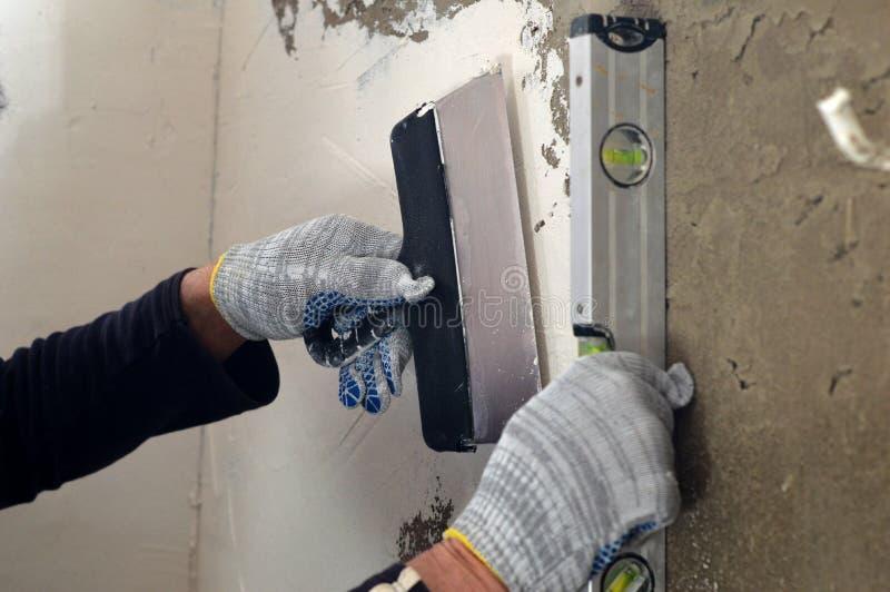 处理补白和成水平水泥灰色墙壁 库存图片