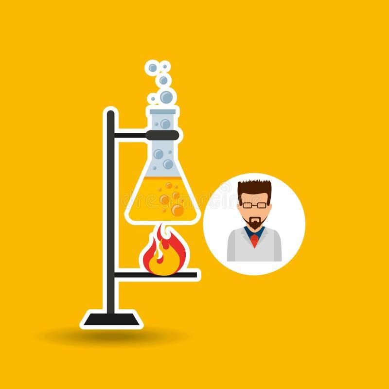 处理象的男性科学家实验室 库存例证