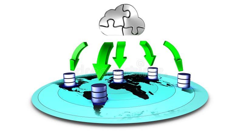 备份云彩数据库 库存例证