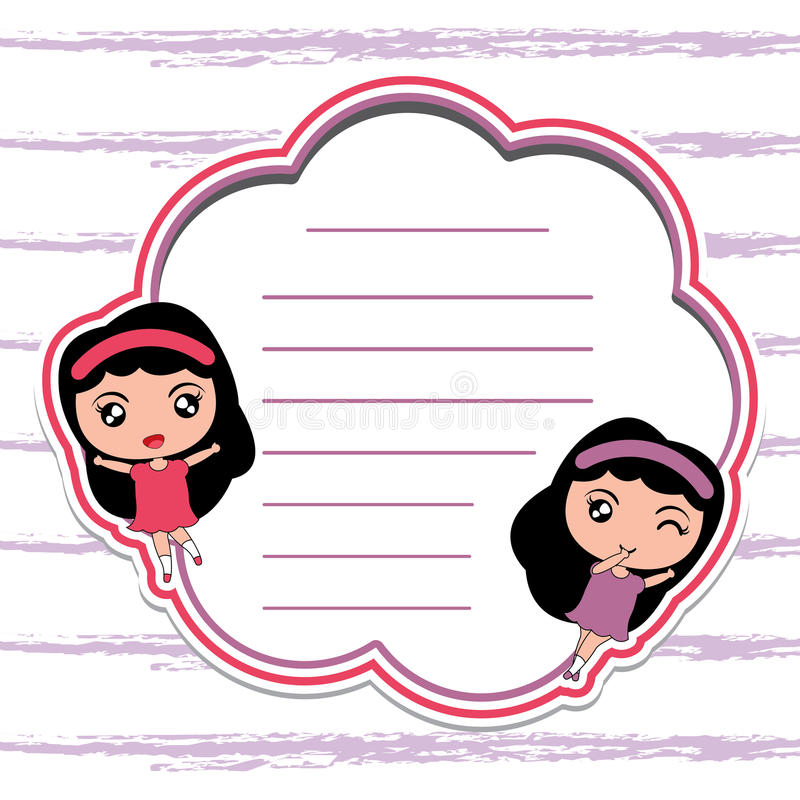 备忘录卡片与逗人喜爱的女孩的纸动画片红色框架的适用于孩子明信片 向量例证