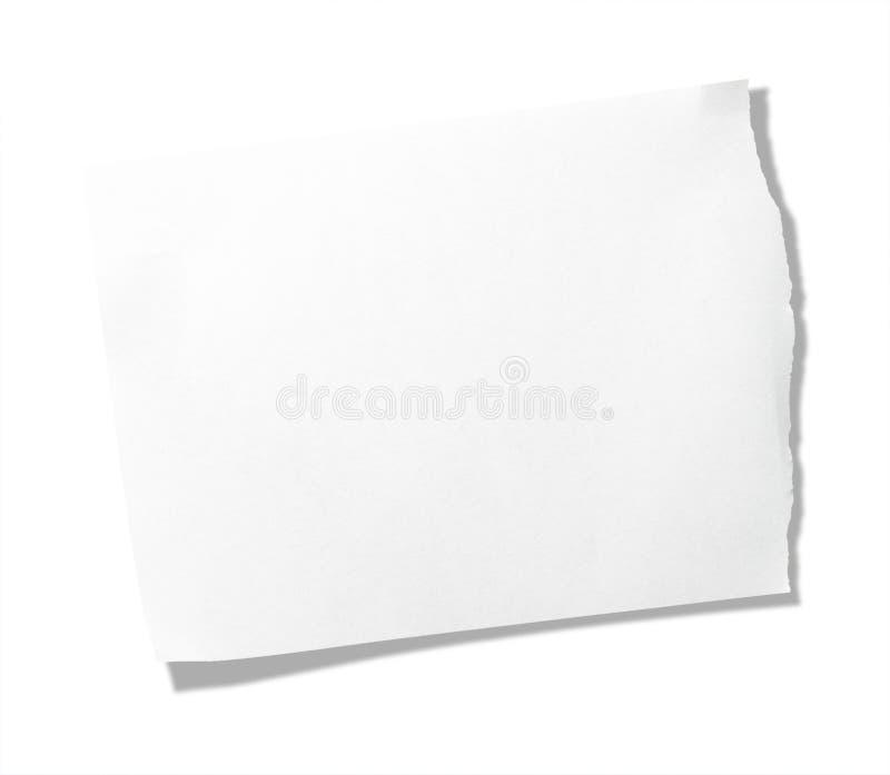 备忘录被撕毁的纸张部分 免版税图库摄影