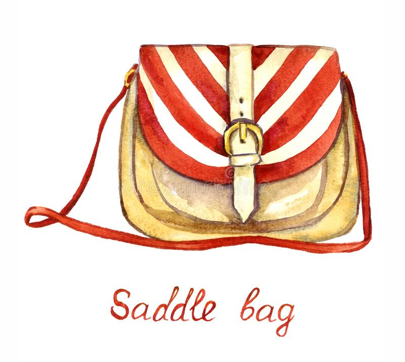备鞍与红色和白色镶边上面和软的棕色色板显示的袋子类型,隔绝在白色背景 向量例证
