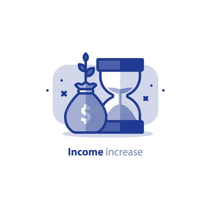 复利,时间是金钱,金融投资,未来收入成长,收支增量,养恤基金计划,传染媒介象 向量例证