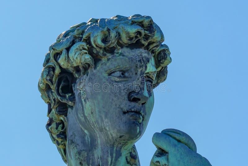 复制品大卫雕象米开朗基罗广场俯视佛罗伦萨托斯卡纳意大利 库存照片