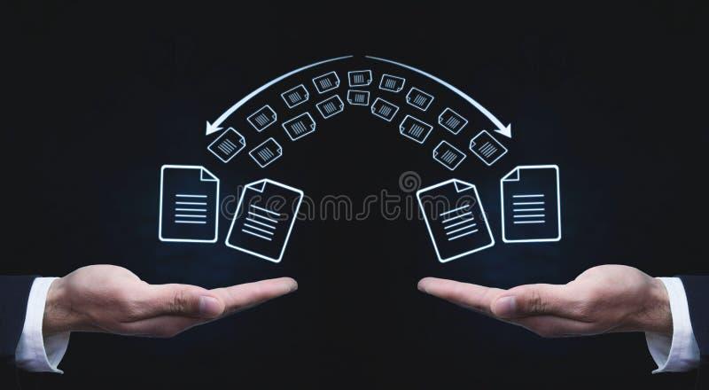 复制文件,数据交换 文件传送 快速的文件传输ma 免版税库存图片