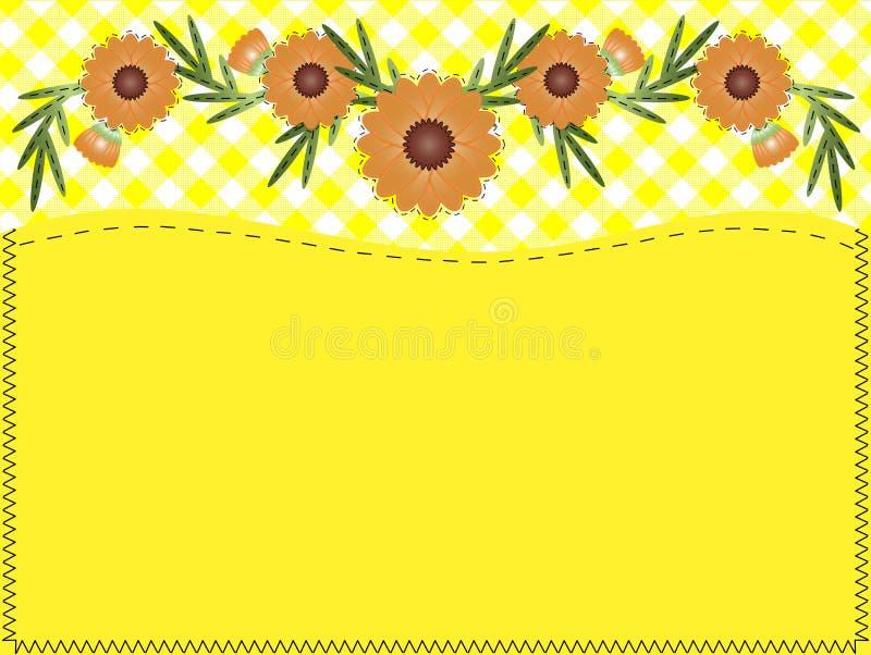 复制方格花布缝制的空间向量百日菊&# 库存例证