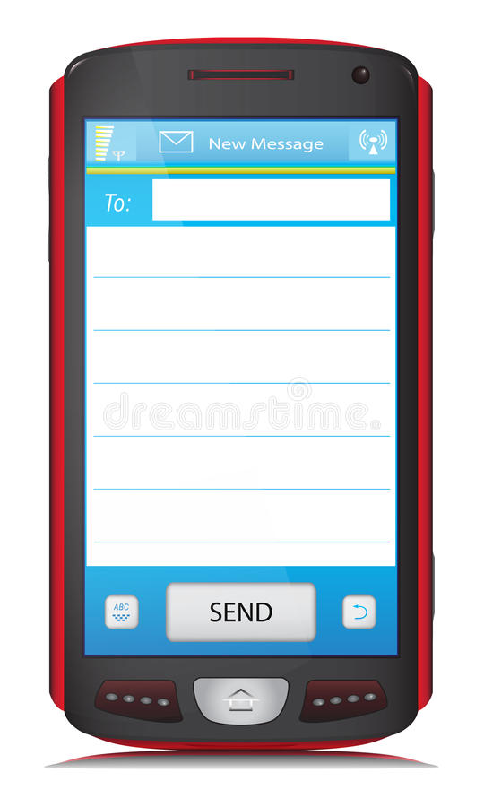 复制SMS文本的空间在触摸屏电话 库存例证