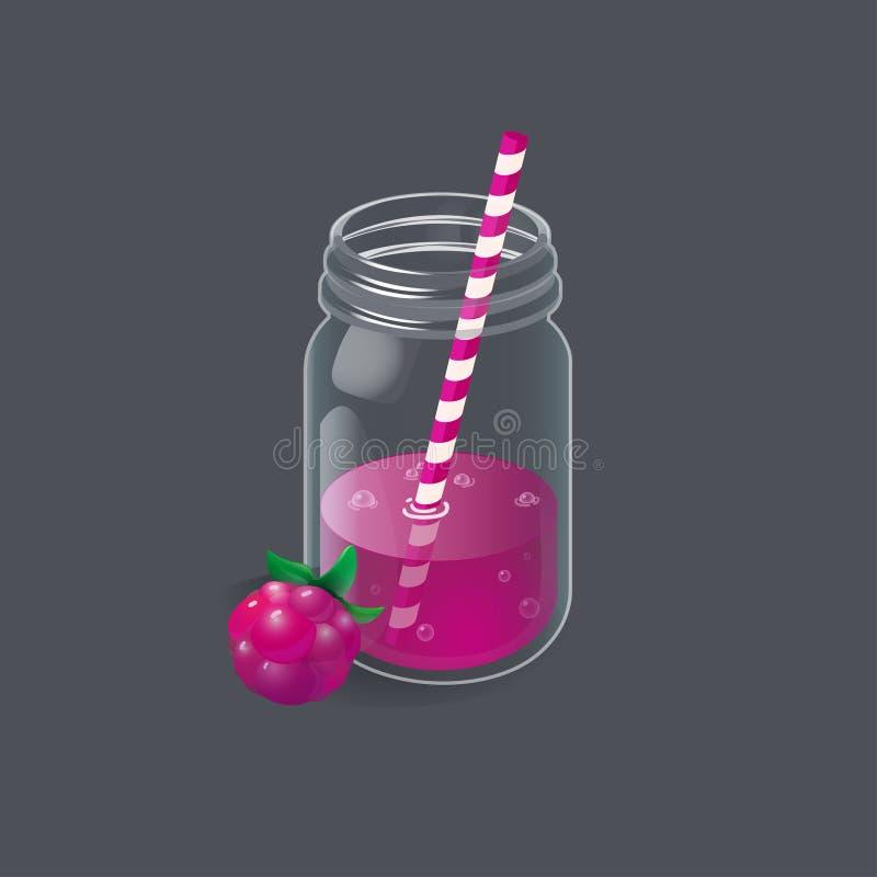复古玻璃瓶中的覆盆子柠檬水 向量例证