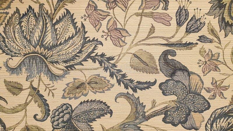 复古的艺术花叶壁纸 免版税库存照片