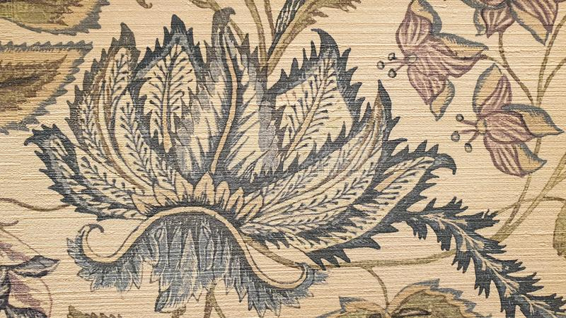 复古的艺术花叶壁纸 免版税库存图片