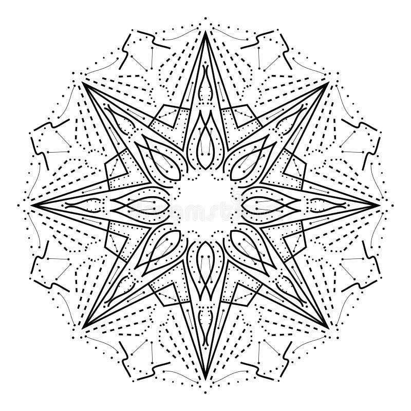 复杂几何坛场 风格化抽象星装饰设计元素 皇族释放例证