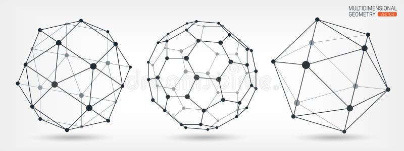 复杂几何形状 几何抽象的背景 一系列的纸 Wireframe滤网多角形元素 向量例证