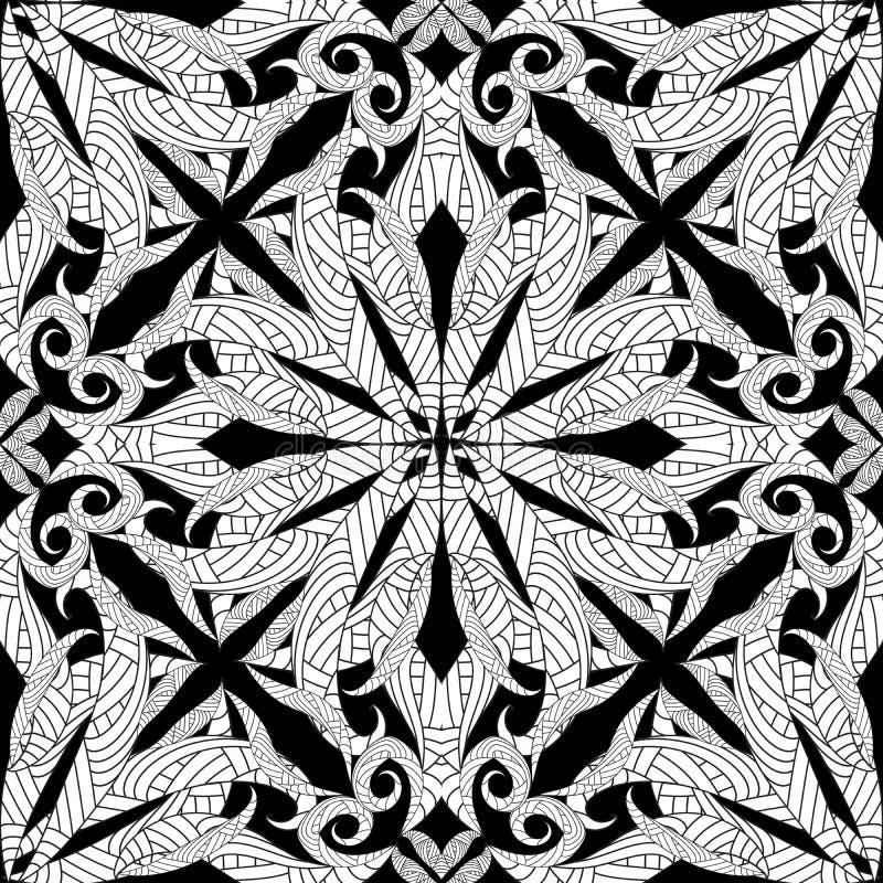 复杂困厄的无缝的样式 传染媒介抽象黑和 皇族释放例证