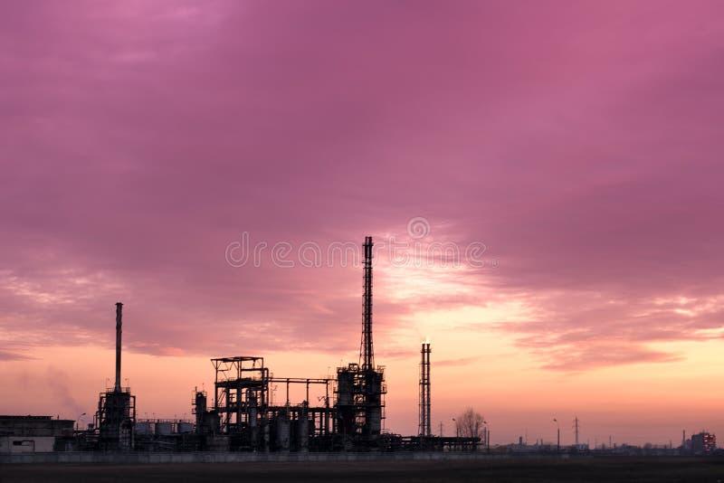 复杂工厂行业日落 图库摄影