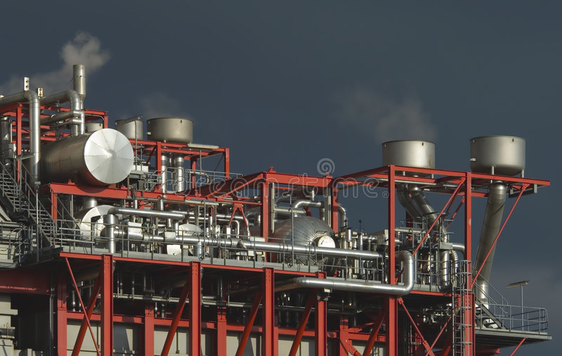 复杂工厂设备 免版税库存照片