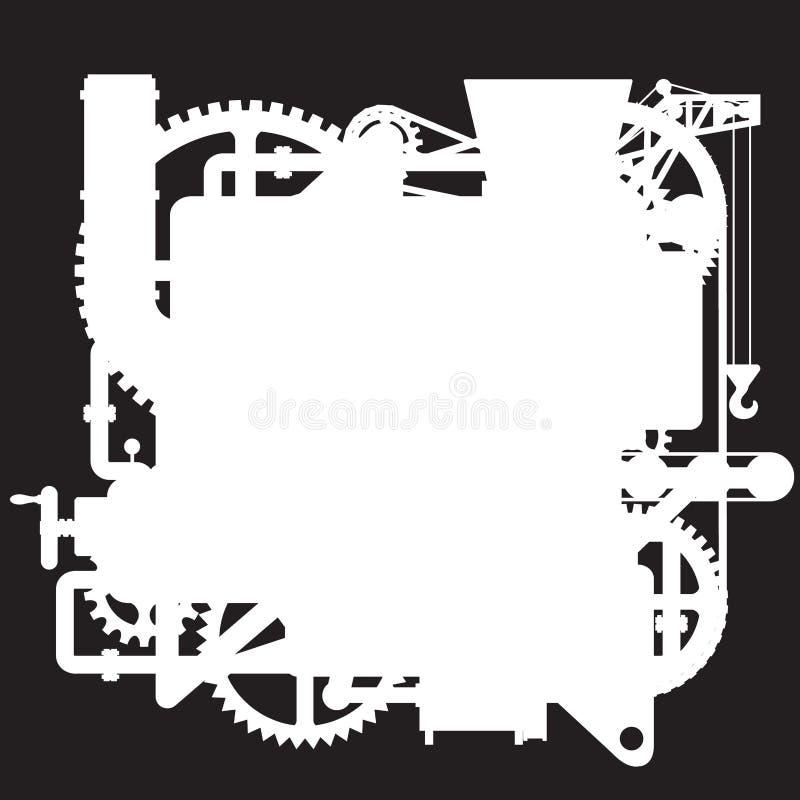 复杂意想不到的机器的白色剪影在黑色的 库存例证