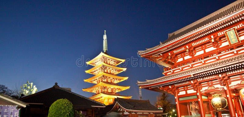 复杂日本sensoji寺庙 免版税库存图片