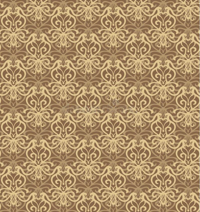 复杂灰棕色和布朗豪华无缝的样式 皇族释放例证