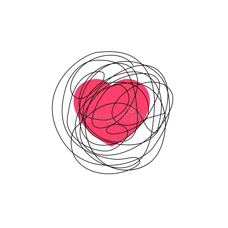复杂的爱感觉例证 与被缠结的杂乱杂文线乱画的心脏标志 库存例证