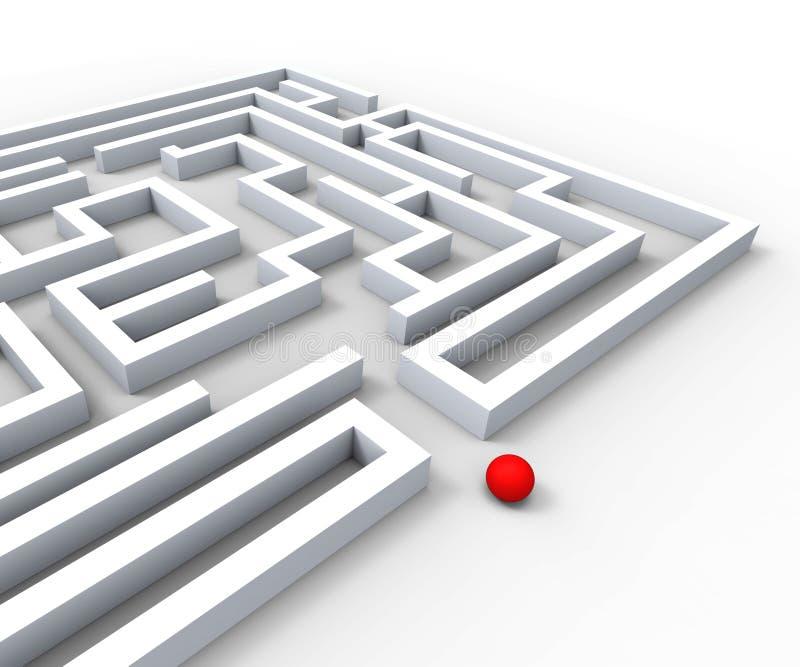 复杂的迷宫显示复杂和挑战 库存例证