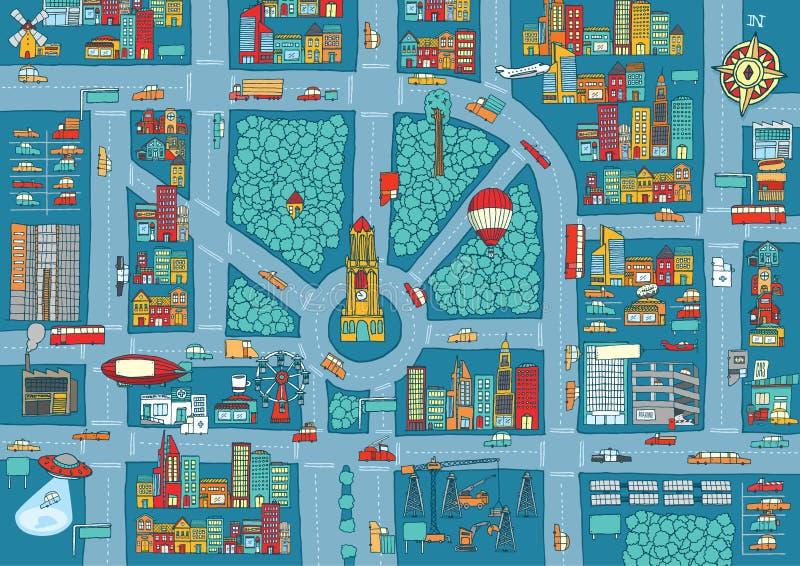 复杂繁忙的城市地图 皇族释放例证