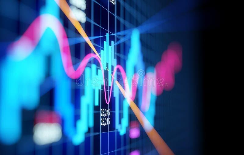 复杂股票市场烛台图 向量例证