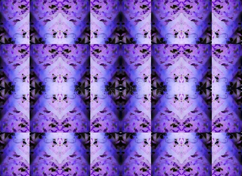 复杂重复在紫色和黑色的雕琢平面的样式 免版税图库摄影