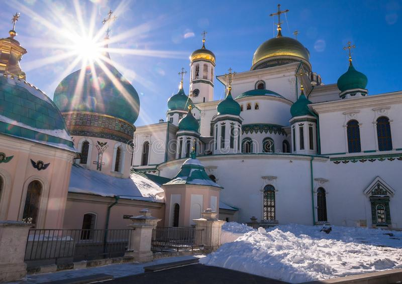 复活大教堂的片段在17世纪的新耶路撒冷修道院里 Istra镇,莫斯科郊区,俄罗斯 免版税库存图片