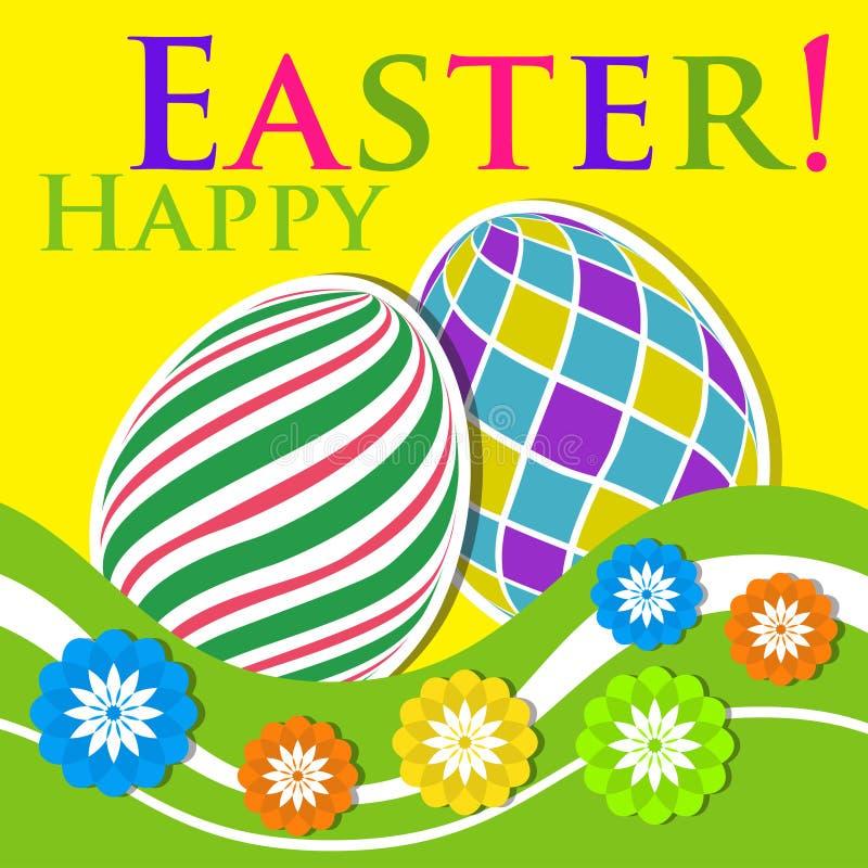 复活节上色了贺卡-与花的鸡蛋 库存例证
