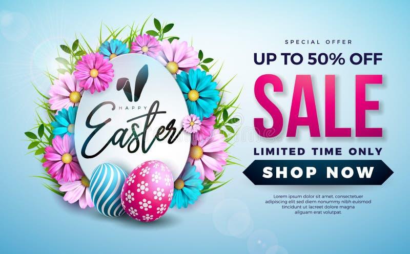 复活节与颜色被绘的蛋和春天花的销售例证在蓝色背景 r 库存例证