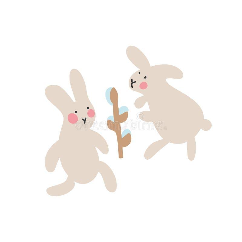 复活节兔子冒险,是寻找和掩藏假日鸡蛋 向量例证