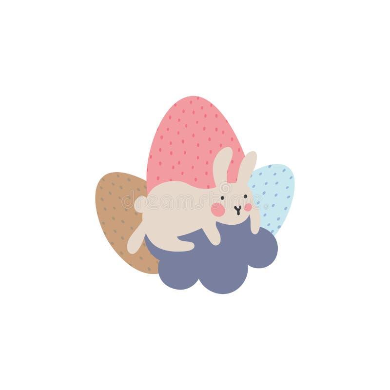 复活节兔子冒险,是寻找和掩藏假日鸡蛋 库存例证
