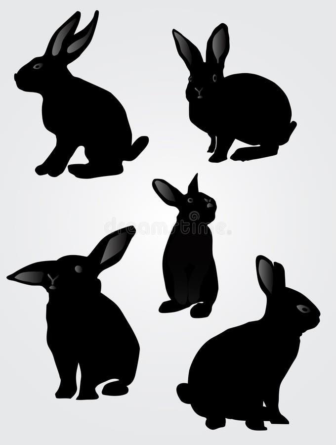 复活节兔子剪影 库存例证