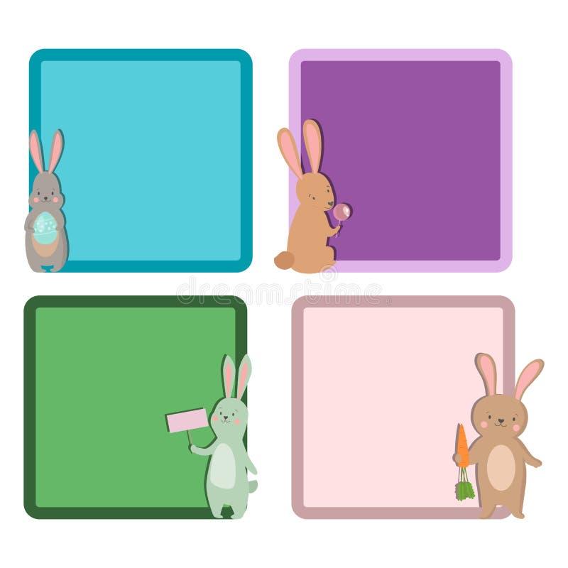 复活节兔子字符兔宝宝另外卡片姿势传染媒介逗人喜爱的愉快的动物集合例证 库存例证