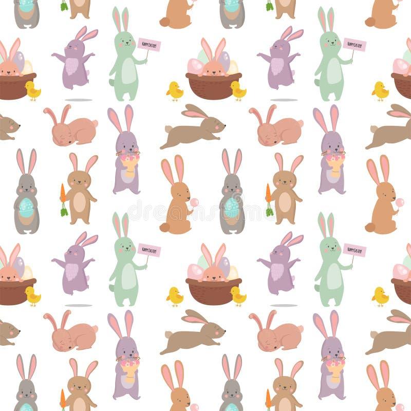 复活节兔子字符兔宝宝无缝的样式背景传染媒介逗人喜爱的愉快的动物例证 库存例证
