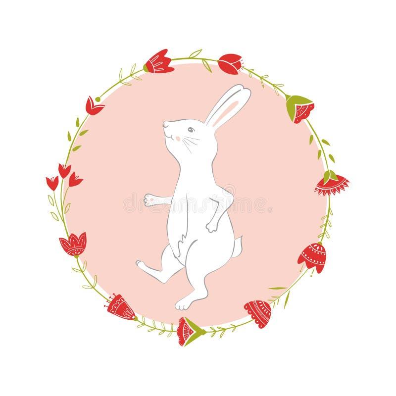 复活节兔子字符 愉快的赛跑和跳舞兔子 花框架剪影 背景查出的白色 皇族释放例证