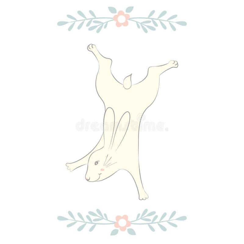 复活节兔子字符 愉快的赛跑和跳舞兔宝宝 花框架剪影 背景查出的白色 向量例证
