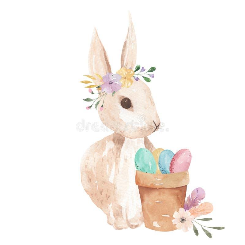 复活节兔水彩怂恿桃红色用羽毛装饰花卉的淡色花卉叶子 皇族释放例证
