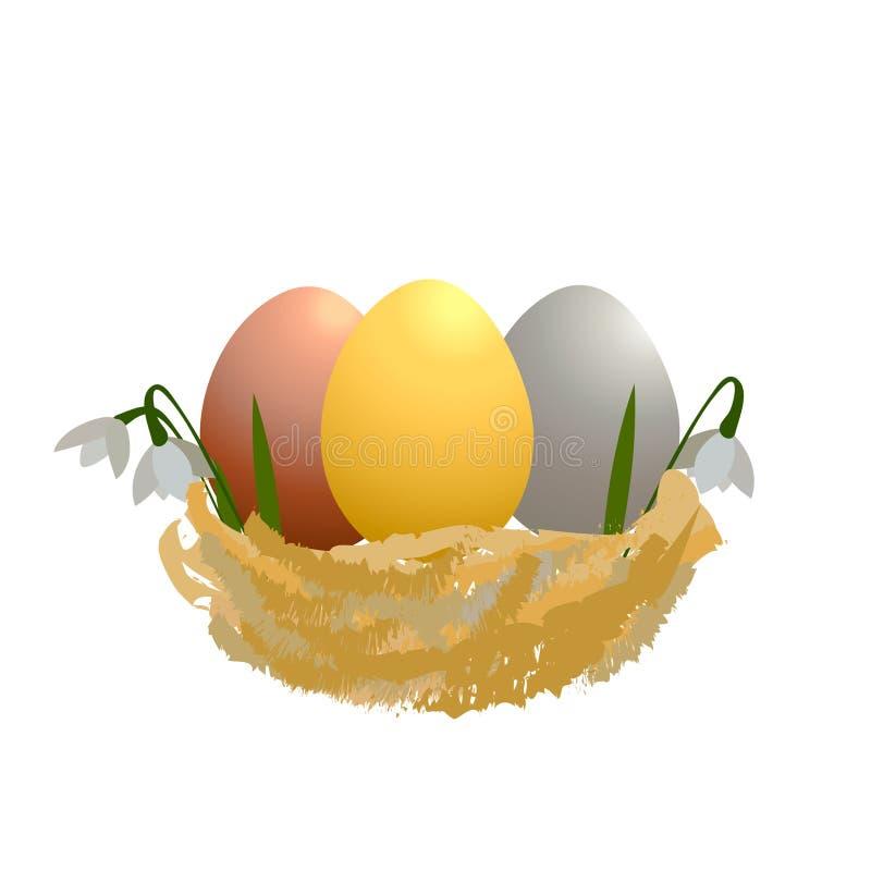 复活节卡片用在巢和春天flowersholiday金子的五颜六色的鸡蛋 库存例证