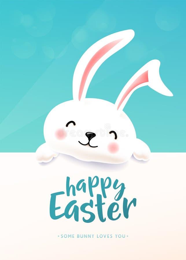 复活节卡片用白色逗人喜爱的滑稽的微笑的兔子 祝愿春天的复活节兔子 皇族释放例证