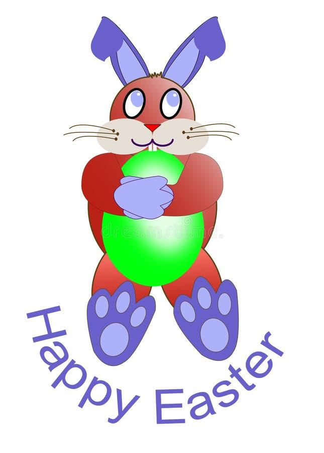 复活节卡片的一只红色复活节兔子 免版税库存照片