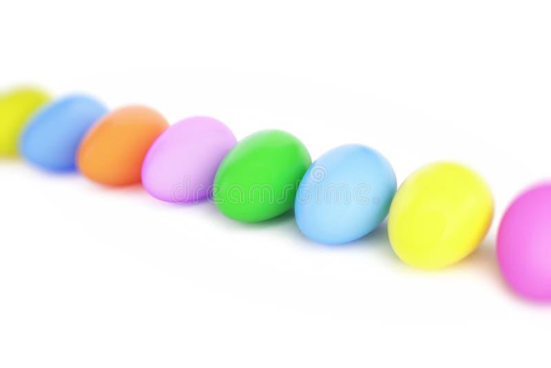 复活节在一个白色背景3D例证的颜色鸡蛋, 3D翻译 向量例证