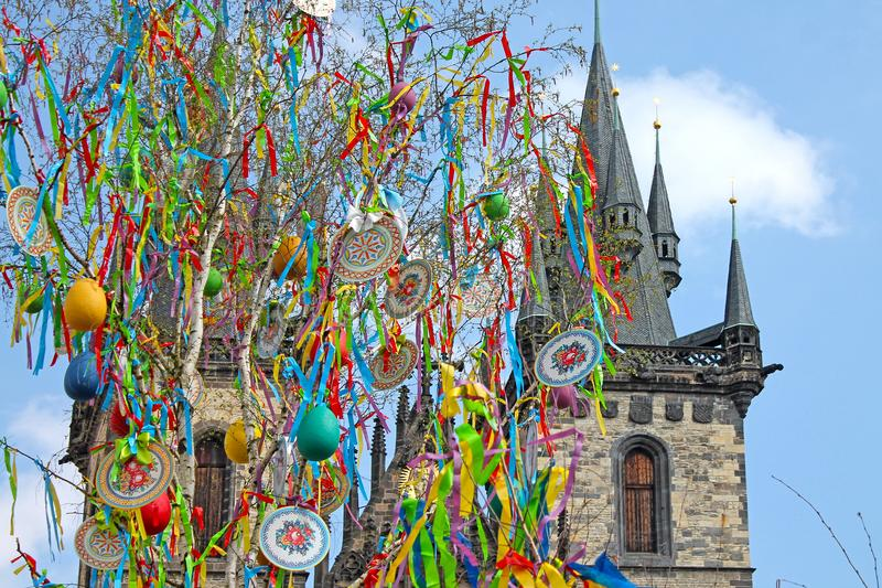 复活节在布拉格,捷克共和国 库存照片